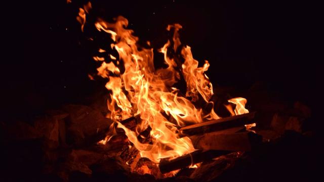 Campfire at the hunting camp